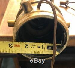 1917 FIREMAN Brass Fire Hose Nozzle ELKHART HEART LAMP ELK