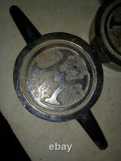 2 Vintage Chrome Brass Howe fire engine fire truck Valve pump caps 12 1/2 Long
