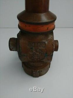 Akron Vintage Brass Fire Hose Valve & Nozzle #j35f