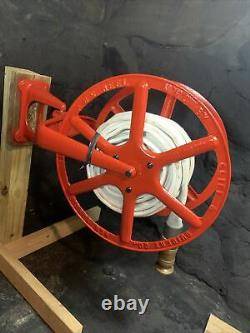 Antique 1900 Cliff & Guibert NYC Reel with Niagara Fire Hose Wooster Brass Nozzle