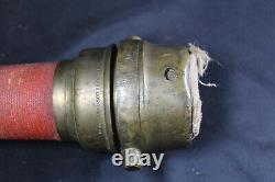 Antique 24 Large Brass & Cord Fire Hose Nozzle Brown Bro's & Co. Providence RI