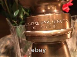 Antique 2 1/2 In. Fire Nozzle / Leather Handles/ New England Fire Applance Co