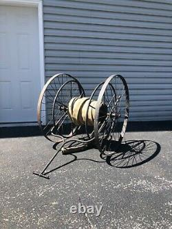 Antique Fire Hose Hand Cart c1900s Two Wheel Fire Hose with Brass Fittings