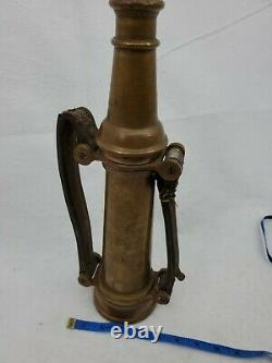 Antique Gold Brass Fire Nozzle With Leather Handles 15 Tall, Tip Unscrews Off
