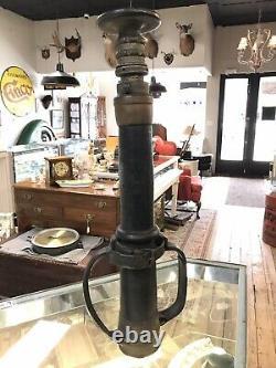 Antique Leather/Brass Carbolized Fire Hose Nozzle J-9 10141