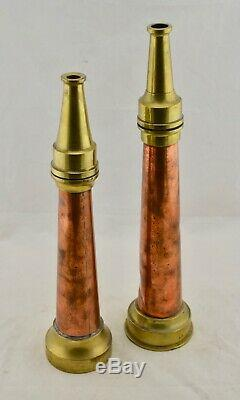 Antique Pair of M. B. John Ballarat Large-size Copper & Brass Fire Hose nozzles