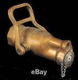 Antique Rockwood Sprinkler Co Heavy Brass Fire Dept Firefighting Hose Nozzle