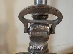 Antique Vintage COLT brass firemans Fire Hose Nozzle 18 tall with leather handles
