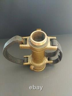 Antique Vintage Fire Fighting Large Brass Hose Nozzle With Leather Handles EMCO
