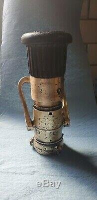 BOSTON. (2) Vintage Brass 1-3/4 Fire Hose Nozzles (Akron/Elkhart)