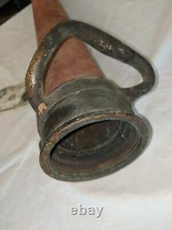 BRASS 30 PLAY PIPE FIRE NOZZLE with ORIGINAL RED WINDINGS ACTUAL 30 1/4