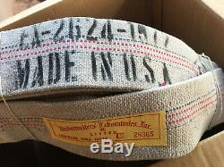 Canvas Fire Hose Striped Vintage 75 Feet With Brass Allen Ends & Nozzle