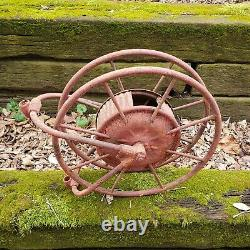 Early 1900's Antique Wirt & Knox Fire Hose Reel W&K Co Embossed Red Industrial