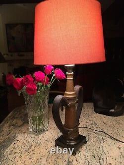 EureKa Fire Hose Mfg. 21/2 In. Vintage Fire Nozzle Custom Lamp 31 H X 12 W