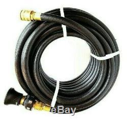 FIRE FIGHTING BLACK HOSE 20mm 3/4 x 36m COIL FITTED BRASS NOZZLE BONUS LEVER GUN