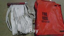 FIRE HOSE ELKHART S-41 PIN RACK 100 FT NOZZLE 1 1/2 250 PSI Coupling with Cover