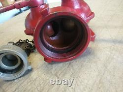 Fire Hydrant Hose Water Ball Valve Wye Splitter Elkhart Brass 3 x (2) 1 1/2