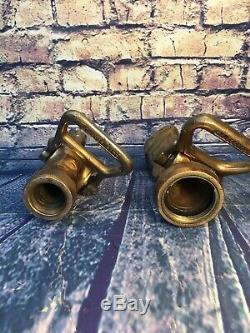 Lot Of 2 Vintage Brass Fog Fire Nozzles 11/2 In. & 1 In
