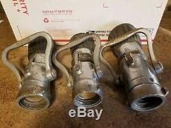 Lot of 3 Vintage ELKHART BRASS MFG CO Fire Hose Nozzle Antique Firefighter