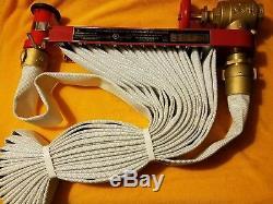 MOON AMERICAN 142-0505 Fire Hose Pin Rack Unit, Plastic Nozzle, 50' Hose