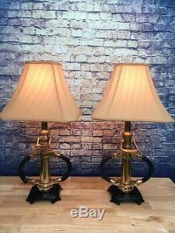 Matching Pair Of Vintage 2 1/2 Inch Brass Fire Nozzle Lamps