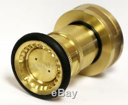 NNI 2-1/2 NST NH Fire Hose Brass Adjustable Fog Nozzle UL Listed 100Psi
