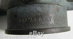 Old Brass FIRE NOZZLE Standpipe POWHATAN B&I Works RANSON W Va 6-61 30 1961