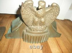 RARE ANTIQUE 1930s BRASS EAGLE ELKHART FIRE FIGHTER TRUCK HOSE CONTROL HOLDERS
