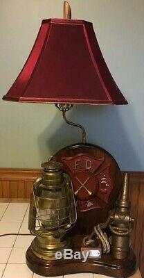 RARE VINTAGE Custom Fire Department Shade Lamp Americana Lantern Nozzle Plaque