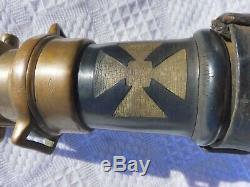 RARE Vintage Fire hose nozzle 31 1/ 2 Gutta Percha & Rubber iron cross TORONTO