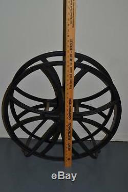 Rare Antique Fire Hose Wheel Water Hose Holder FireMan House Wood Centers