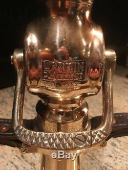 VIntage 1932 Brass Larkin 2 1/2 Fire Nozzle With Leather Handles