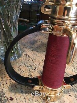 Vintage 2 1/2 inch red Cord Wrapped Akron Brass Leather Handle Fire Nozzle
