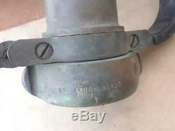 Vintage AKRON Brass & Elkhart Brass Fire Nozzle On / Off Ball w Black Handles