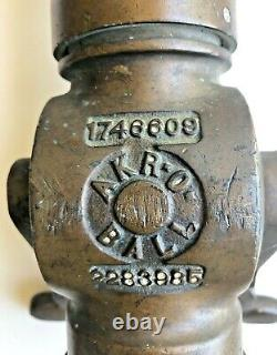 Vintage AKRON Brass Fire Hose Nozzle with ELKHART Tip FREE Shipping