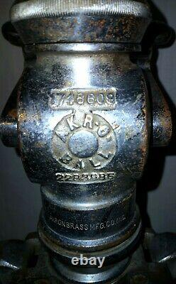 Vintage Akron Brass Mfg Co. Inc. Fire Nozzle 1949 Two Hands/Black Handles