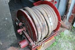 Vintage Automatic Swivelling Retractable Fire Reel and Hose Back of Truck