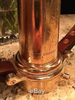 Vintage Brass 21/2 In. Leather Handle Fire Nozzle, Polished And Detailed