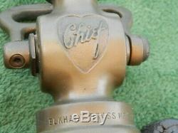 Vintage Brass & Leather Elkhart Chief Fire Nozzle Estate Find