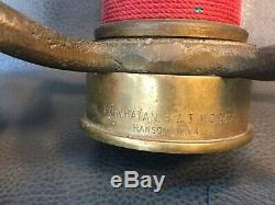 Vintage Brass Red Cord Wrapped 15 In. Play Pipe Fire Nozzle With 11/8 Tip
