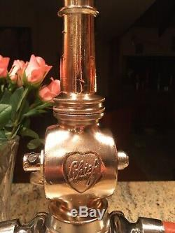 Vintage Chrome Over Brass Elkhart Chief 21/2 In. Two Handle Fire Nozzle