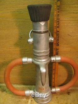 Vintage Elkhart Brass Fire Truck Hose Nozzle with Valve