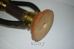 Vintage Fire Hose Nozzle Display Grether Akron Brass Wood Base 2 Handles Early