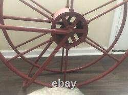 Vintage Fire Hose Red Reel Nozzle Firefighter Fireman Brass Nozzle