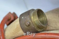 Vintage Fire Hose Reel Nozzle Firefighter Fireman Brass 1940's Cloth Goodyear