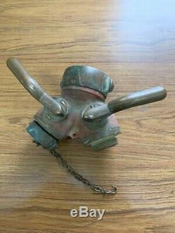 Vintage Fire Hydrant Hose Water Thief Wye Splitter Elkhart Brass with Male Ends