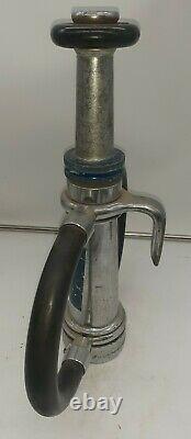 Vintage Fire Nozzle Elkhart Brass Chromed 16 Fireman Equipment 3 Input
