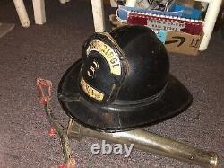 Vintage Fireman's Safety Helmet, & Tool & 12 Fire-Nozzle Pre-1960 NJ Fire Dpt