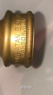 Vintage POWHATAN BRASS FIRE NOZZLE WITH BRASS HANDLE INTACT 1 1/2 Inch
