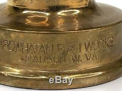 Vintage Powhatan Brass Fire Hose Nozzle Powhatan B & I Works Ranson W. VA